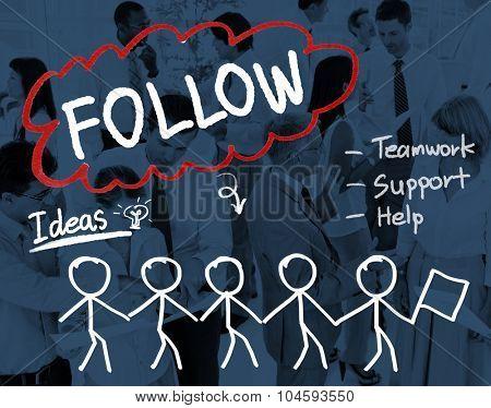 Follow Track Subscribe Social Media Concept