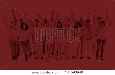 Large People Celebrating Teamwork Collaboration Concept