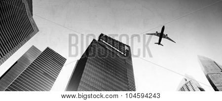Airplane Aircraft Cityscape Skyline Skyscraper Concept