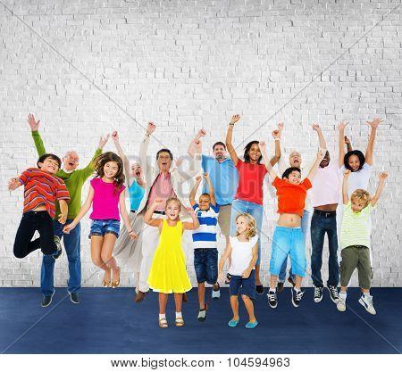 Children Celebration Jumping Ecstatic Happiness Concept
