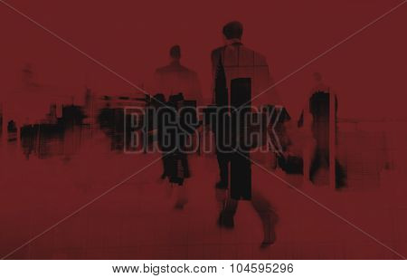 Commuter Business People Commuter Crowd Walking Concept