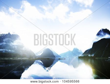 Blue Mountain Rural Tranquil Remote Lake Reflection Concept