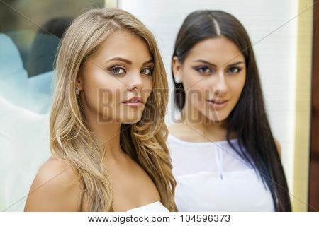 Glamorous portrait of two young beautiful women. Blonde and brunette women, indoor