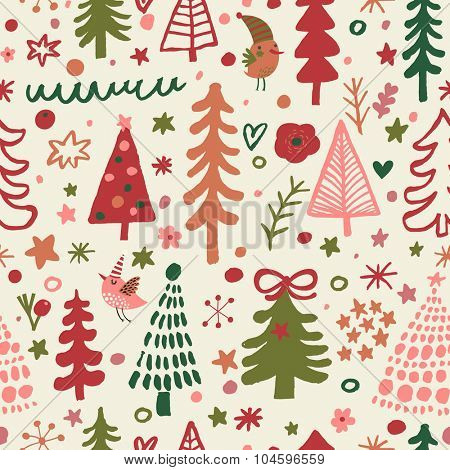 Sweet Christmas seamless pattern for winter holidays ornaments in bright colors. Stylish New Year and Christmas background in vector