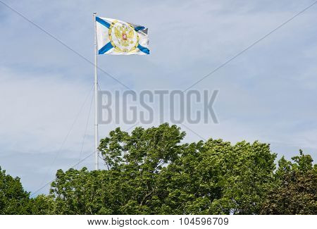 St. Andrew's Flag In Sky Among The Trees