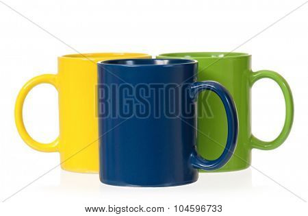 Colorful cups for coffee or tea, isolated on white background