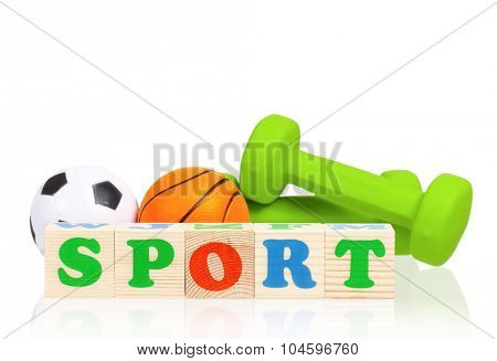 Sport wooden cubes word, isolated on white background