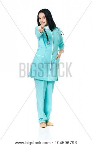 Smiling medical doctor woman with stethoscope, isolated on white background