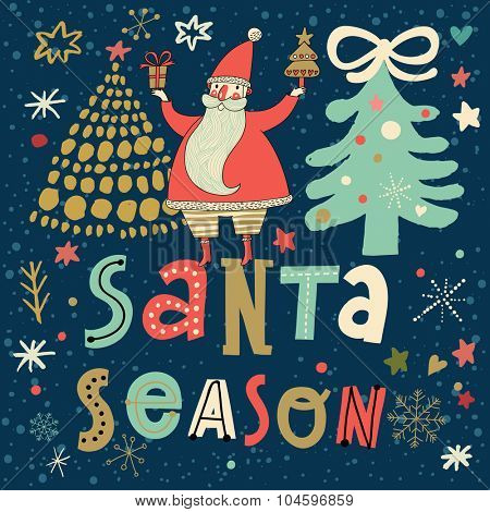 Santa season - stylish New Year and Christmas card with cute funny Santa Claus with gifts in vector. Bright childish holiday concept background in cartoon style