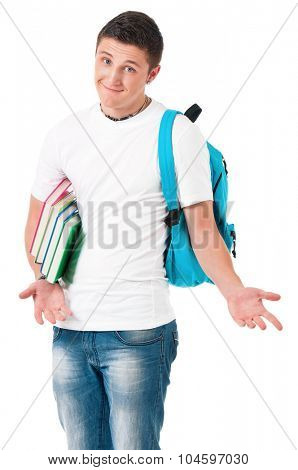 Happy boy student with backpack and books, isolated on white background