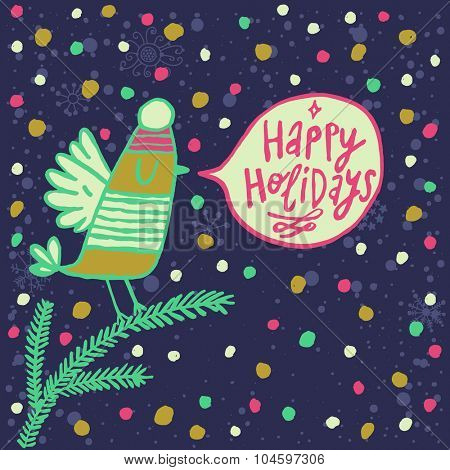 Happy holidays cartoon card in vector. Cute bird in a hat on fir tree branch in bight colors