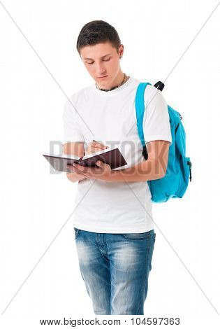 Boy student with backpack and notepad, isolated on white background