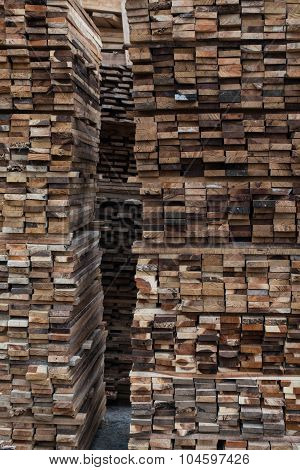 Piles Of Pine Planks Stacked For Drying