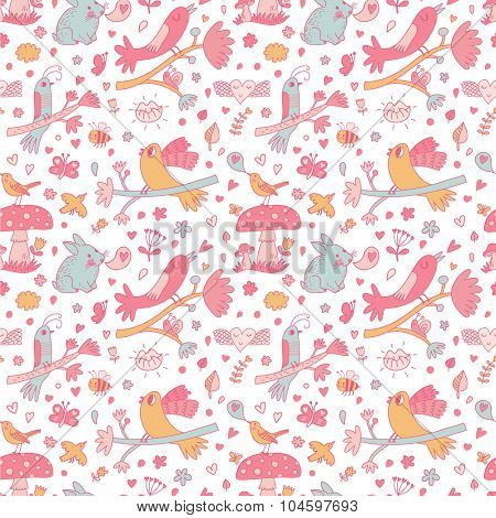 Sweet background with cute birds on branches, bees, butterflies, rabbit and other romantic symbols in vector. Awesome spring seamless pattern in pink colors