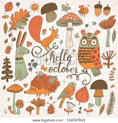 Hello October - sweet forest card with lovely wild animals : rabbit, hedgehog, squirrel, owl and birds. Stylish background with birds and animals in mushrooms, leafs and insects in orange colors