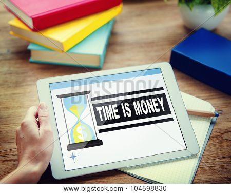 Time Money Sand Glass Businessman Alone Concept