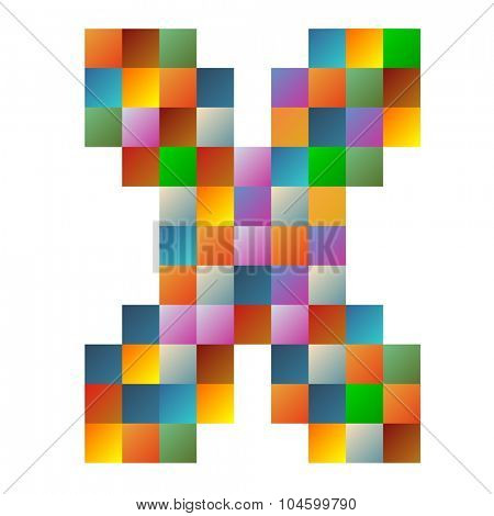 X letter rainbow colorful sparkling vector illustration