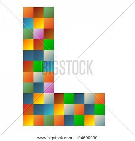 L letter rainbow colorful sparkling vector illustration