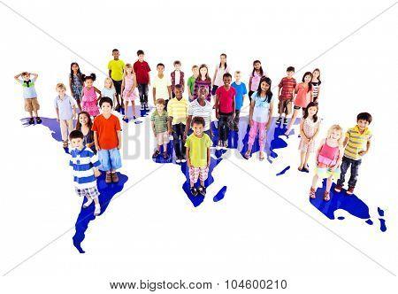 Children Kids Ethnicity Friendship Continent Map Concept