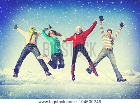 Friendship Winter Happiness Togetherness Concept