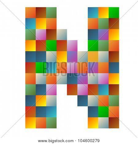 N letter rainbow colorful sparkling vector illustration