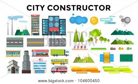 Buildings and city transport flat style illustration. Flat design city downtown background. Roads and city buildings, sky mountains. Architecture small town market, hospital, church, shop, bus, truck