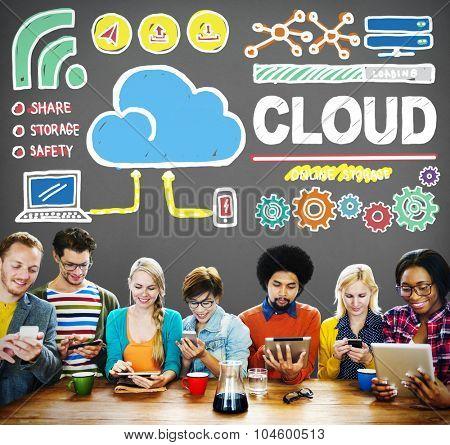 Cloud Computing Network Storage Online Concept