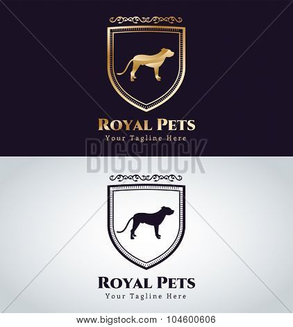 Abstract pet dog logo concept. Veterinary logo, animal vector logo, dog logo, pet logo, dog vector icon. Strong royal dog vector logo. Safety, shield, vip, luxury. Dog silhouette logo, dog icon
