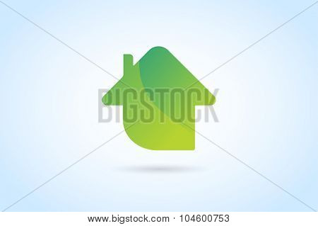 Green house home vector logo. House logo. Nature house logo. Home house roof and mortgage, banking, loan house, royalty. Realty logo, mortgage. Real estate. Lawyer office. Development logo. Bank