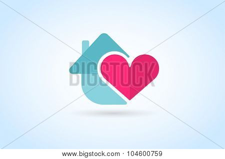 Green house home vector logo. House logo. Nature house logo. Home house heart mortgage. Heart love, banking loan house, royalty. Realty logo, mortgage. Real estate. Lawyer office. Development logo