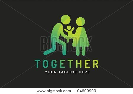 Happy family vector logo template, Baby and mother, father logo. Child holding mother hands. Care logo, union family logo concept. Family logo, family vector icon. Happy family logo