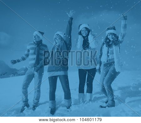 Friends Enjoyment Winter Holiday Christmas Concept
