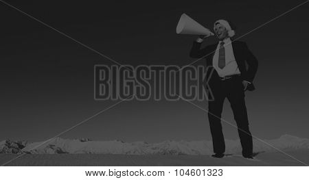 Businessman with Megaphone on Holiday Season Concept