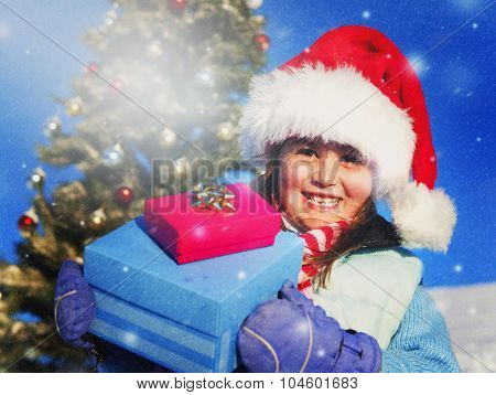Happy Little Girl Posing Outdoors Present Concept