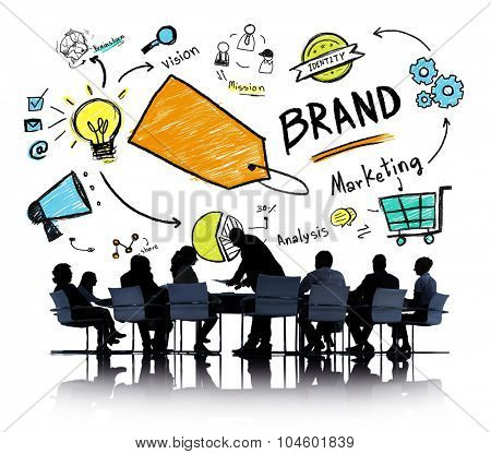 Silhouette Business People Discussion Meeting Isolated Brand Concept