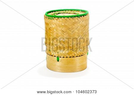 Wicker Bamboo Sticky Rice Tradition Handicraft With White Background