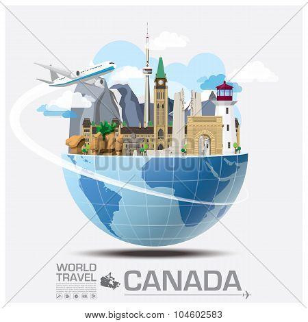 Canada Landmark Global Travel And Journey Infographic