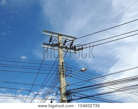 electrical pole with power line cables