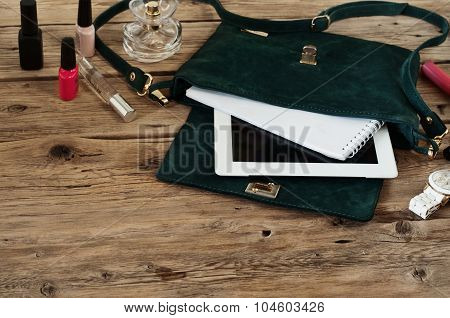 Suede Female Bag With Tablet, Notepads, White Watch And Cosmetic