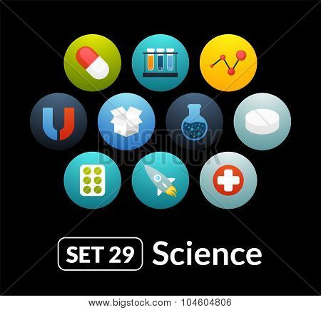 Flat icons set 29 - science and medicine collection
