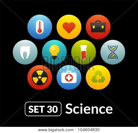 Flat icons set 30 - science and medicine collection