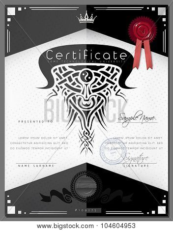 Gift Vintage Certificate / Diploma / Award Border Template With Silver Frame In Vector