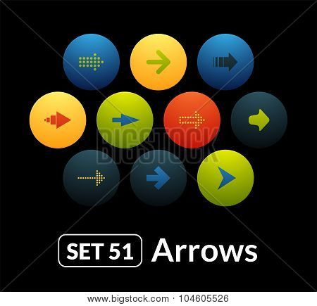 Flat icons vector set 51 - signs arrows
