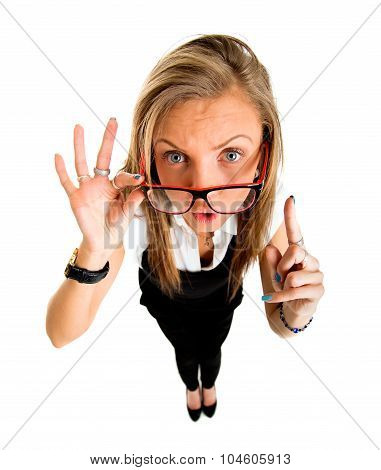 Funny Businessl Girl Pointing Up, Fish Eye Lens Portrait.