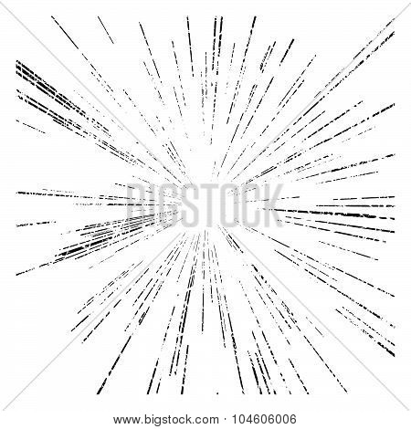 Vector Set Of Points Of The Star And Explosion Hazard Or Speed Motion Lines From Center, Grunge Stam