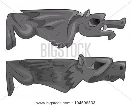 Illustration of a Pair of Gargoyles Lying Horizontally