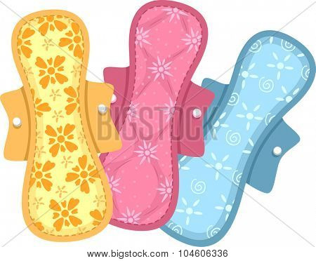Illustration of Colorful Sanitary Pads Made of Cloth