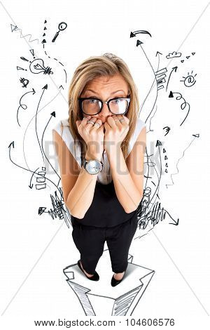 Frightened And Stressed Young Business Woman Biting Her Fingers, High Angle