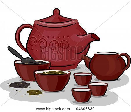 Illustration Featuring Traditional Chinese Tea Preparation