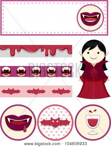 Illustration Featuring Party Printables with a Vampire Theme